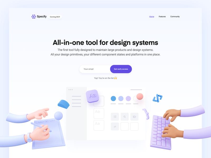 Specify Website ui color 3d illustration 3d tool design system marketing website landing page