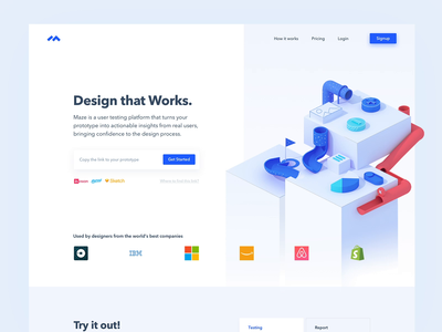 Maze : New Landing page prototyping testing ui ux product prototype 3d illustration landing page landing design