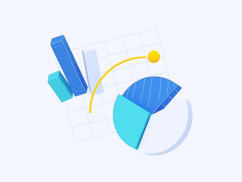 Maze : Report Illustration graph pie chart charts report illustration 3d