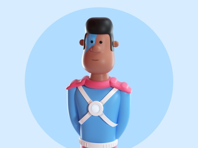 Design Thinking League - Brain man hero super hero octanerender c4d illustration character 3d