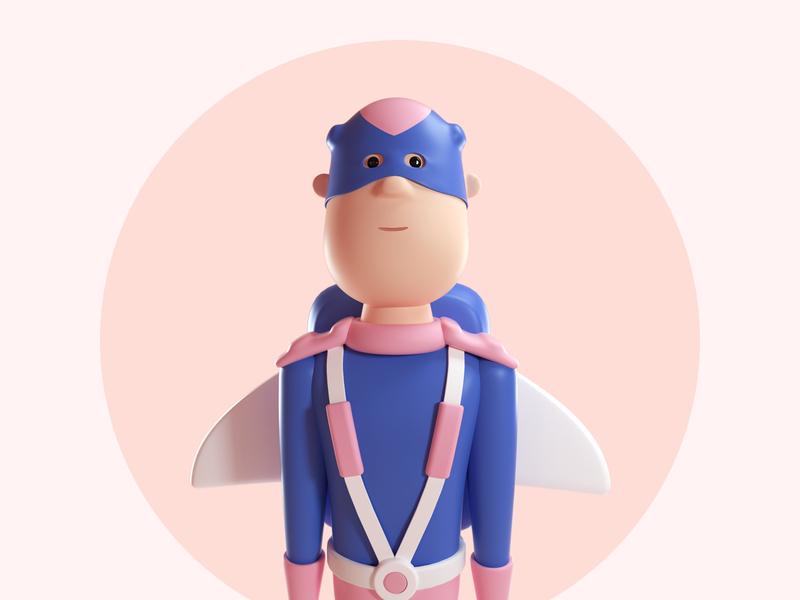 Design Thinking League - Captain Speed character hero super hero c4d 3d illustration