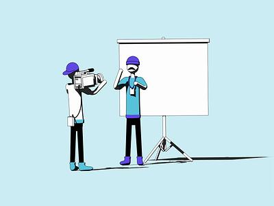 Firekast illustration: Conference sketch and toon loop illustration flat colors c4d animation