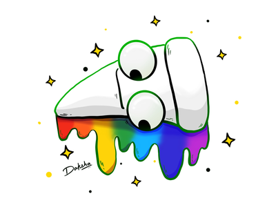 Rainbow Pizza dribbble best character design character cartoon artist art rainbow food food illustration pizza