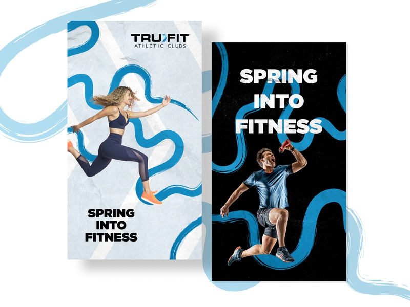 Spring Into Fitness with TruFit ad campaign instagram story ad mobile advertising tampa creative agency spring ads fitness ad fitness design illustration ads agency advertising
