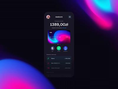 neobank - app design 🔥🤙🖤 mobile stats payment bank banking ux ui product design webdesign graphicdesign motion design uiux app design productdesign mobile ui mobile app uidesign