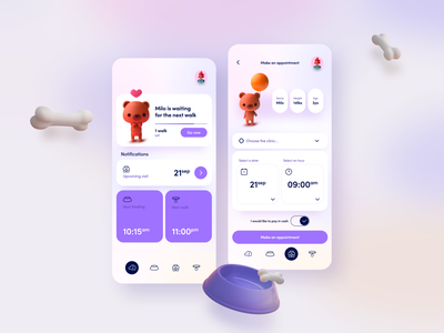 Pet caring app 🐶😺🐹 product design mobile uidesign minimal interface app design app ux ui caringapp petshop pets pet