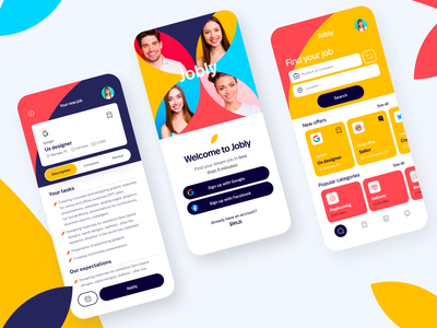 Jobly - job app 🤝 job search hire job application job product design mobile uidesign interface app ux ui app design