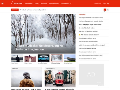 Europa News/Magazine Theme Design