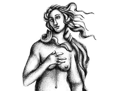 Birth of Venus: Re-illustrated redraw renaissance art artwork ink illustration design stipple