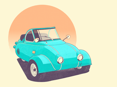 Funny retro micro car illustration funny retro design motoplan micro car retro