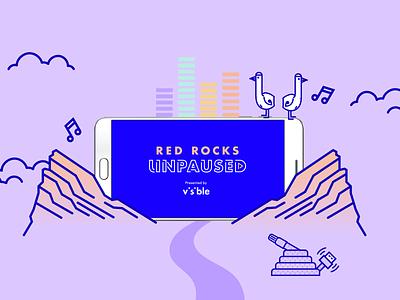Red Rocks Unpaused identity denver music livemusic neon visible illustration artdirection advertising branding logo