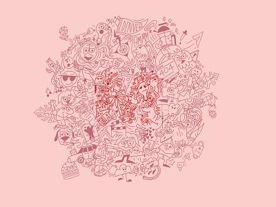 Beautiful Madness tonal monoline advertising agency illustration