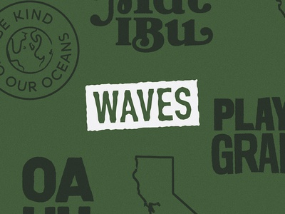Waves Graphics conscious oceans oahu playa grande malibu california waves environmental ecofriendly vector brand illustration logo brand identity brand design lettering art design branding typogaphy lettering