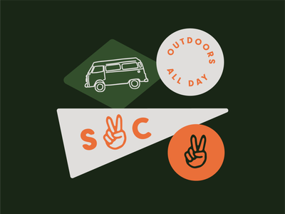 South Coast Stickers peace sign hand emoji peace symbol camper van camper vw bus surfer skater apparel outdoors adventure stickers logo vector branding typography illustration design brand identity brand design