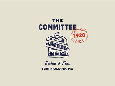 The Committee logo & illustration hospitality food industry nebraska new york reuben menu illustration menu food illustration food sandwich logo illustration brand identity branding brand design