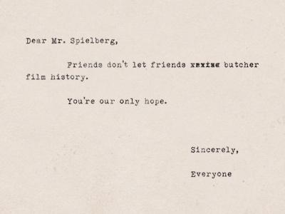 Dear Mr. Spielberg typography