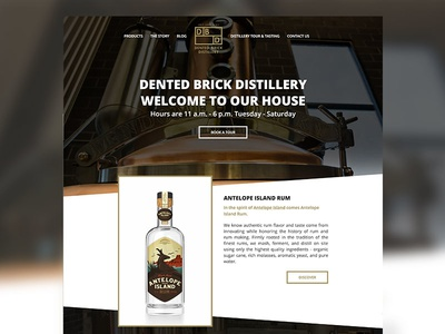Dented Brick Distillery landing page alcohol booze web rum distillery