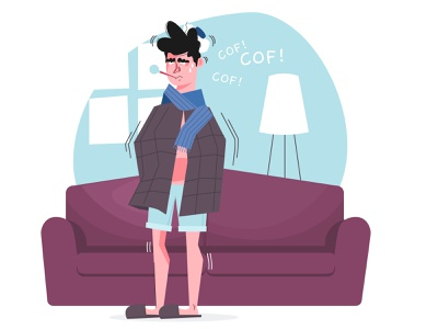 A person with a cold cold person character vector adobe illustrator flatdesign design illustrator flat illustration