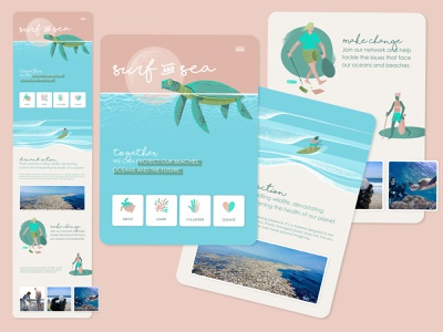 Surf & Sea - Volunteer Site event app events event charity event charities charity website concept websites webdesign website design web design website web app app design volunteer