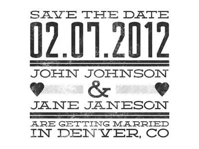 Wedding wedding announcement grunge typography vintage