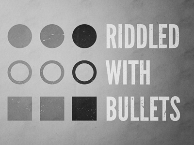 Riddled With Bullets bullets riddle pun html typography