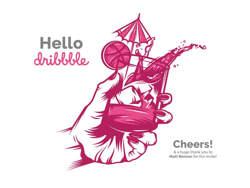 Hello Dribbble! pink flat design vector art vector illustration cheers illustrator flat vector design illustration