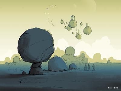nomadas2b travel stones enviroment concept sketch illustration drawing