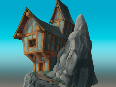 Mountain house concept props illustration