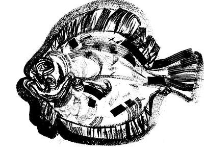 Scophthalmus maeoticus fish expressionism illustration