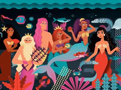 Mermaids illustration design beach sirena illustration water water undersea fish seashell sea siren mermaid