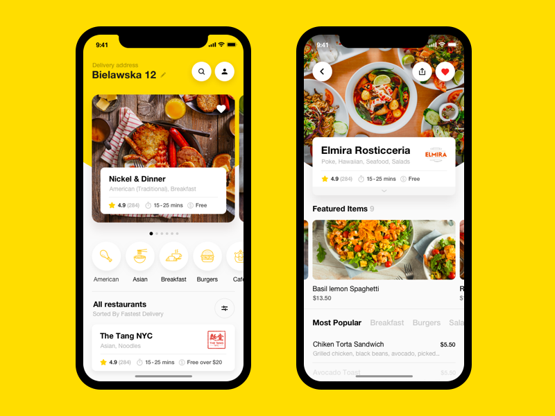 Food Delivery App. Restaurants cuisine store shopping online grocery grocery white yellow restaurant food app cafe order ios app delivery food
