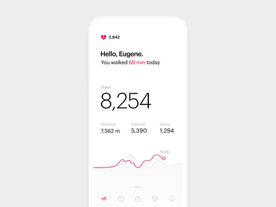 Micro-interaction for Steps Tracking App walking analytics steps tracking health motion heart loader loading data layout animation ios app ux minimal clean ui white interaction