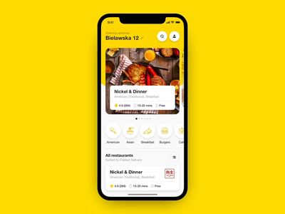 Adobe XD - Auto-Animate 🔥 stayhome covid19 olefir eugeneolefir order food interaction grocery delivery ios order cafe food food app app restaurant yellow white auto-animate adobe xd madewithadobexd