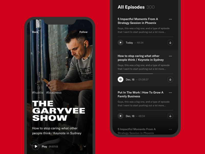 Podcast App streaming typogaphy player podcast music app ux ui ios clean minimal red