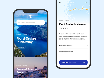 Cruise App cruise layout ios app ux ui minimal clean white