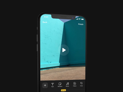 Video Editor App sticker photo filters instagram edit motion figma after affects video editor video app editing clip animation layout minimal ios ux clean ui video