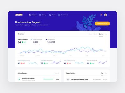 Survey Dashboard ui ux web blue stats statistics chart analytics minimal clean survey data dashboard