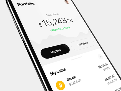 Crypto Trading App wallet ux ui eugene olefir olefir motion animation design minimal white technology stocks money finance exchange cryptocurrency trading crypto