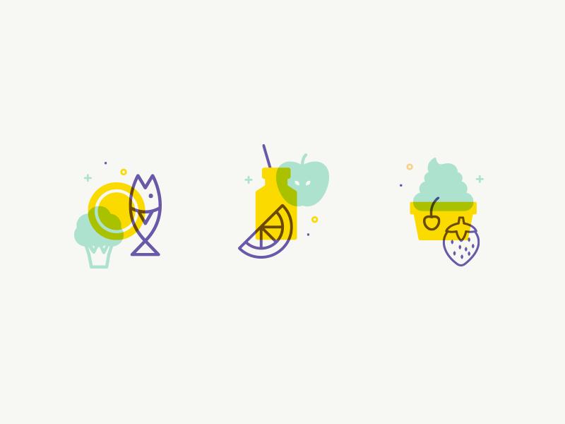 Icon set dessert cherry strawberry orange apple broccoli fish dish food vector outline icon