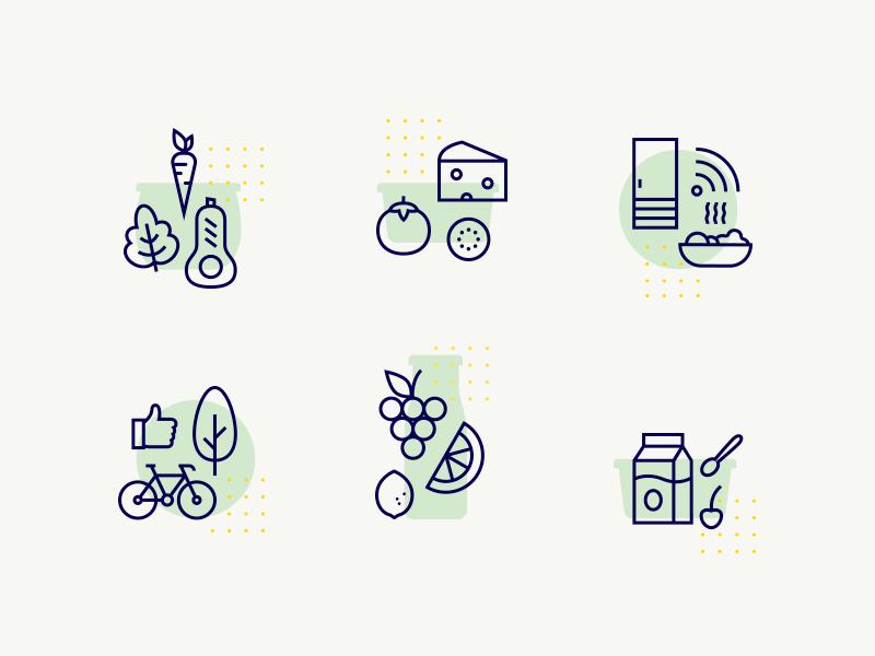 Icon set lemon tree bike fridge tomato cheese salad carrot food vector outline icon