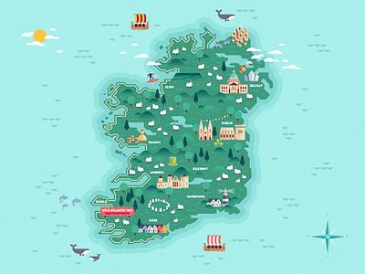 Map of Ireland #3 dingle connemara belfast galway limerick cork dublin map ireland vector flat illustration