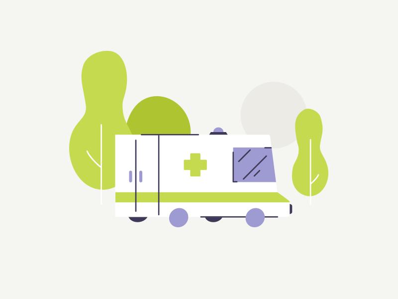 Ambulance car tree medical health car ambulance design illustration vector