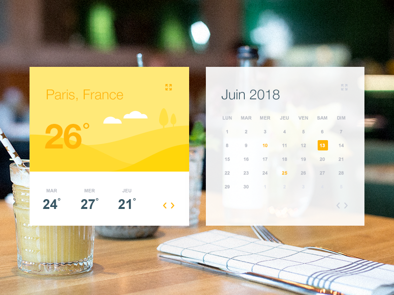 UI Weather & Calendar sunny yellow calendar weather ui design