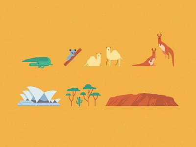 Map of Australia #1 vector illustration flat mountain tree sydney opera kangaroo dromedary koala crocodile