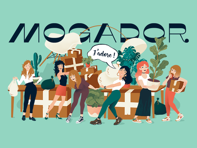 Agency move illustration design eames chair lamp cardboard plantlover plant band girl team move
