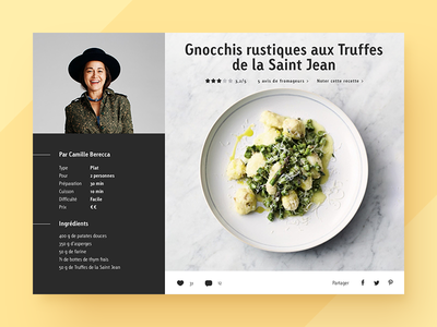 UI for a recipe page flat cook cheese food recipe ui design