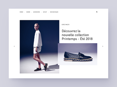 Header redesign for a fashion marketplace white flat shoes e-shop e-commerce fashion design ui