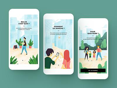 Illustrations for a tutorial tutorial tourist tour walk procreate illustration culture tourism ui design app mobile