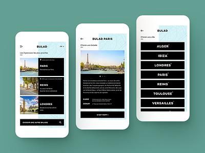 UI design for a mobile app city map pin paris mobile app design ui tourism culture walk tourist