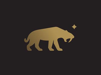 Smilodon negative space tiger smilodon animal cat symbol icon brand identity monogram branding logo